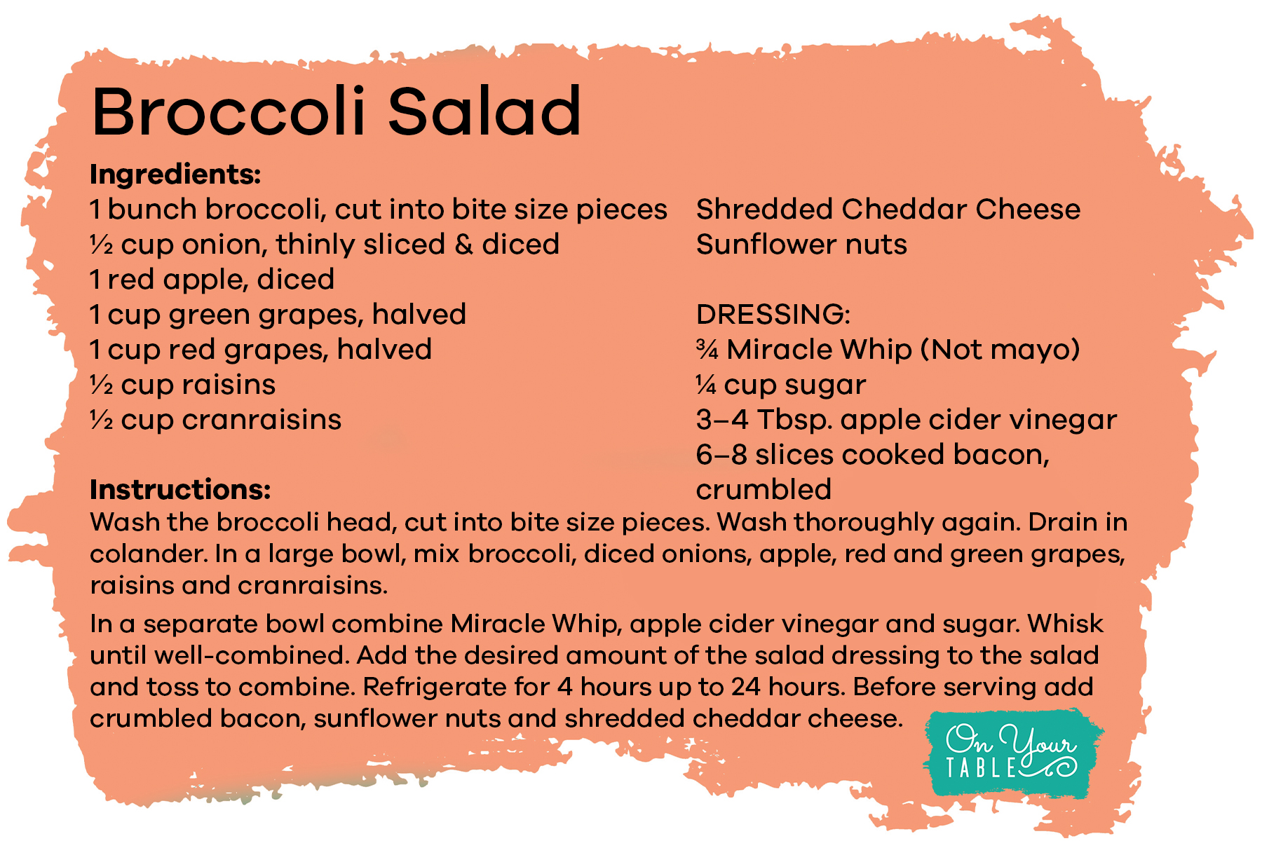 Click to download Broccoli Salad recipe card