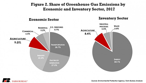 Agriculture's share of greenhouse gas emissions