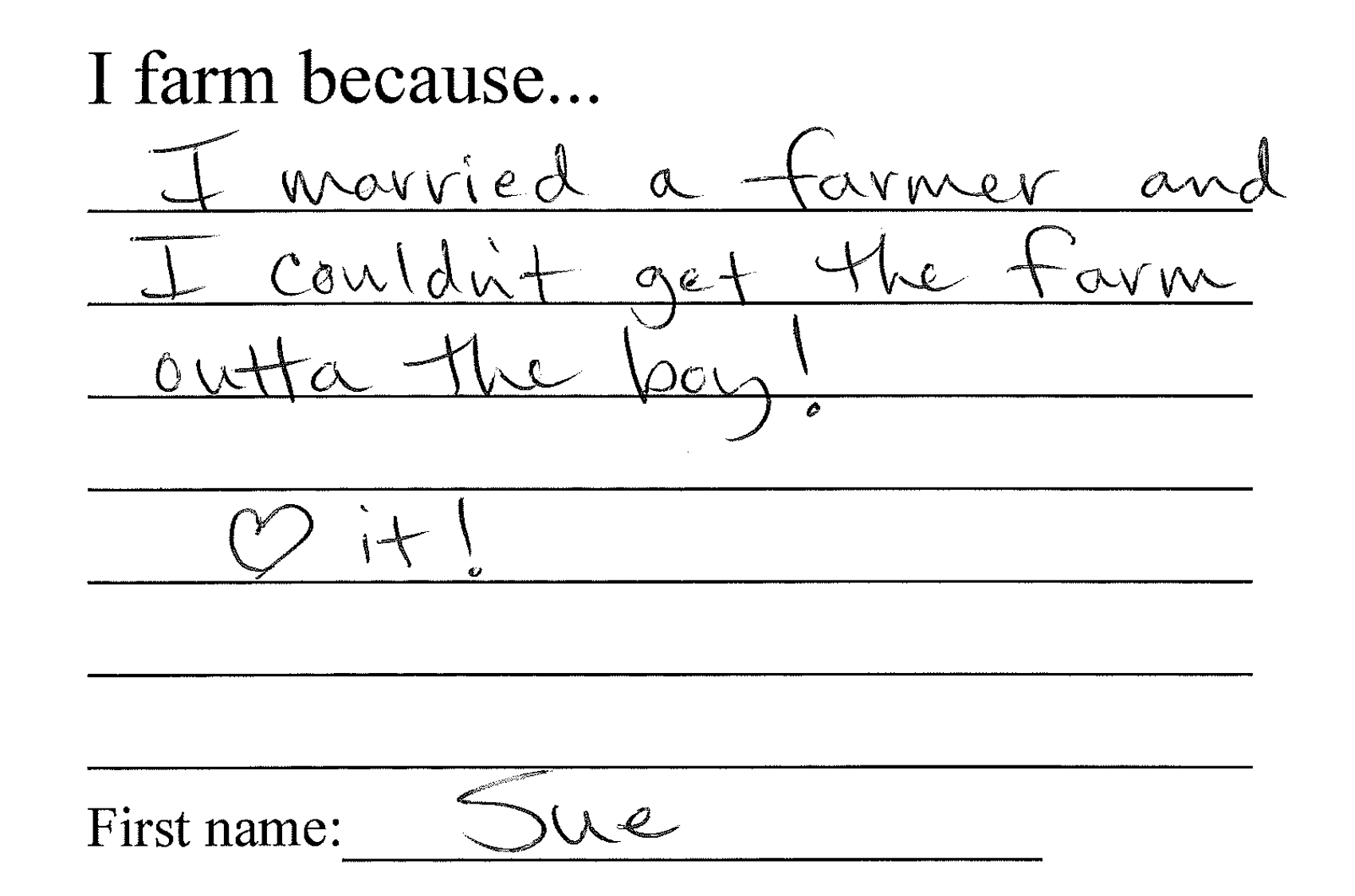 Sue shares why she farms